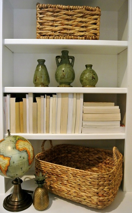 the redesign company | bookshelves basket globe